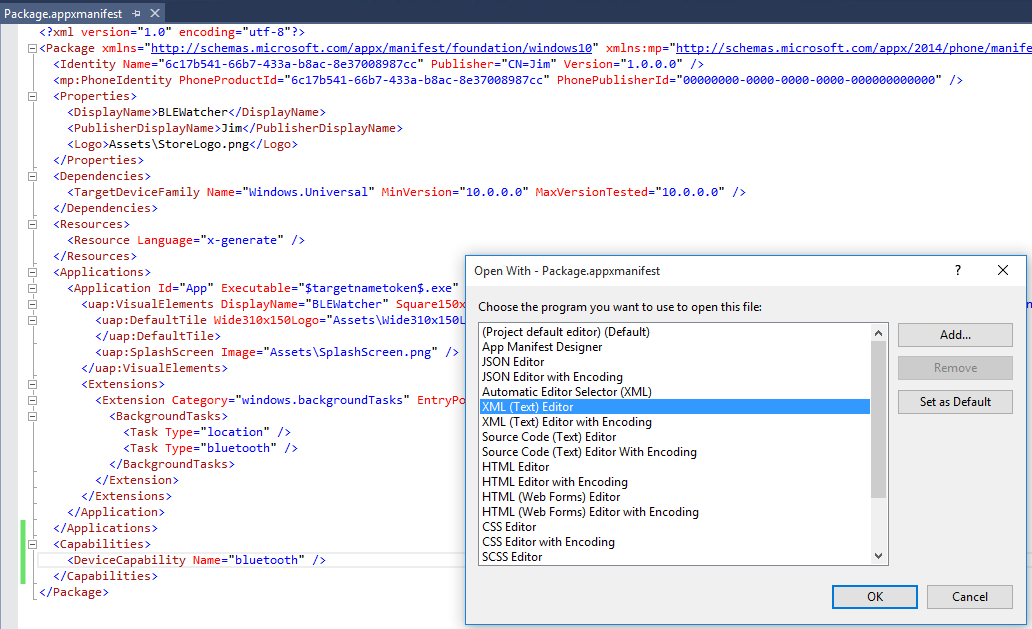 Opening the Package.appxmanifest with the XML editor