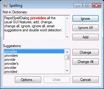 Spell checker dialog