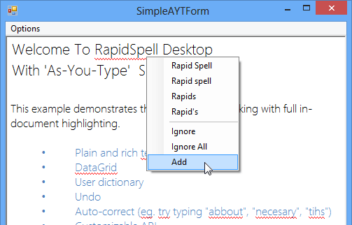 RapidSpell Desktolp .NET As-You-Type
