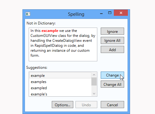 Dialog Spell Checking with RapidSpell WPF